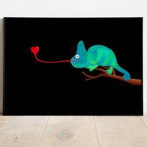 Chameleon with heart Illustration